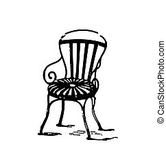 vendemmia, sedia, metallo