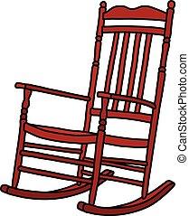 vendemmia, sedia, oscillante, rosso