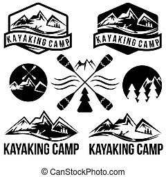 vendemmia, set, etichette, kayaking, campeggiare