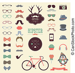 vendemmia, set, hipster, retro, icona