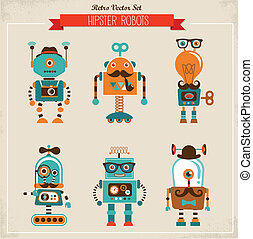 vendemmia, set, hipster, robot, icone