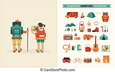 vendemmia, set, icone, backpackers, coppia, vettore, manifesto
