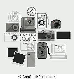 vendemmia, set, moderno, macchina fotografica