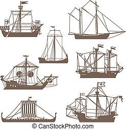 vendemmia, set, navi, navigazione