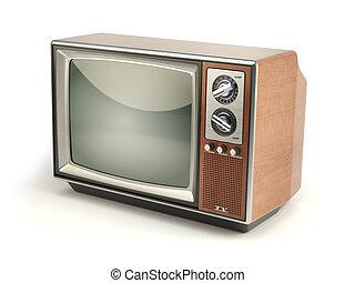 vendemmia, set tivù, isolato, bianco, fondo., comunicazione, media, e, televisione, concept.