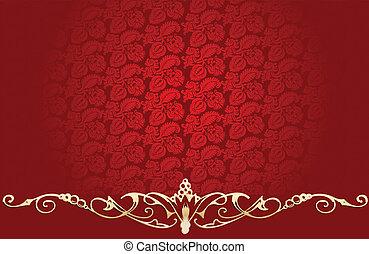 vendemmia, sfondo rosso, con, splendore, oro, curve