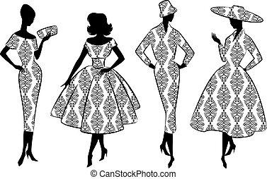 vendemmia, silhouette, di, girls.