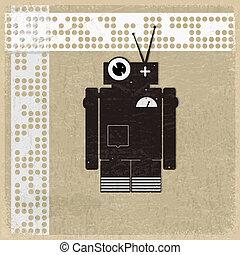 vendemmia, silhouette, robot, fondo
