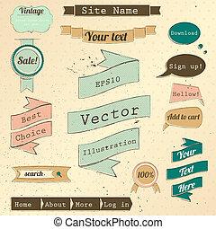 vendemmia, sito web, disegni elementi, set.