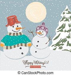 vendemmia, snowmen, natale, manifesto