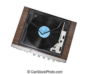 vendemmia, stereo, piattaforma girevole, isolato