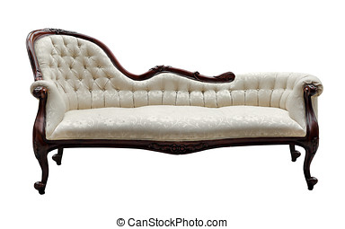 vendemmia, stile, bianco, isolato, divano