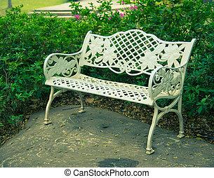 vendemmia, stile, bianco, panca giardino