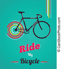 vendemmia, stile, bicicletta, manifesto