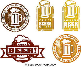 vendemmia, stile, birra, francobolli