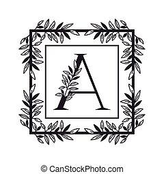 vendemmia, stile, cornice, lettera, alfabeto
