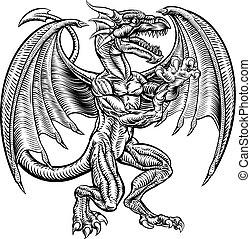 vendemmia, stile, disegno, woodcut, drago
