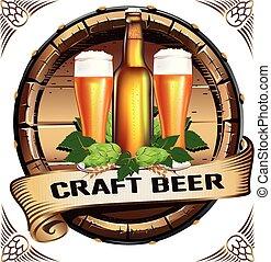 vendemmia, stile, emblema, birra, colorito