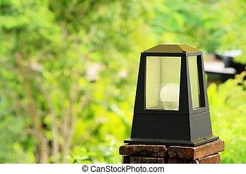 vendemmia, stile, giardino, lampada