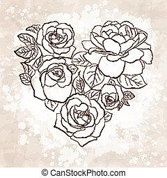 vendemmia, stile, heart., forma, rose