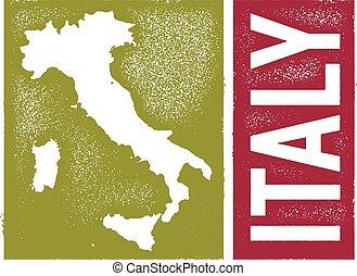 vendemmia, stile, italia, mappa