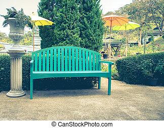vendemmia, stile, verde, panca giardino