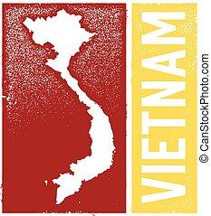 vendemmia, stile, vietnam, mappa