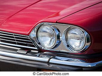 vendemmia, su, automobile, chiudere, rosso, gruppi ottici anteriori