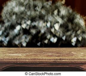 vendemmia, tavola legno, con, cuore, bokeh, fondo