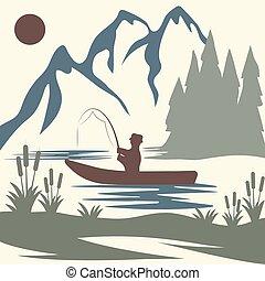 vendemmia, tema, vettore, pesca, illustrazione