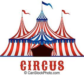 vendemmia, tenda circus, con, bandiere, e, stelle