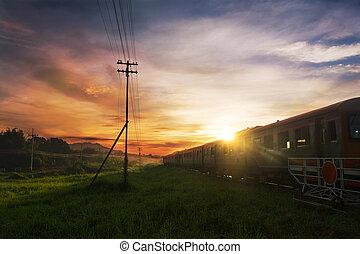 vendemmia, treno, sopra, metallo, ferrovia, o, ferrovia, in, mattina, giorno pieno sole, in, tailandia, come, trasporto, logistica, concetto