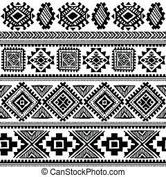 vendemmia, tribale, etnico, seamless, modello