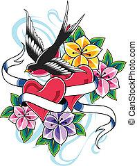 vendemmia, uccello, tatuaggio