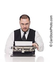 vendemmia, uomo, macchina scrivere