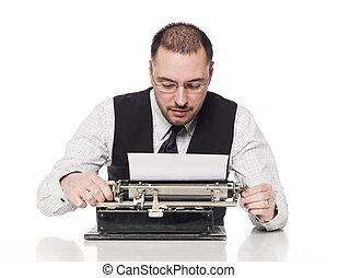 vendemmia, uomo, macchina scrivere, scrittura