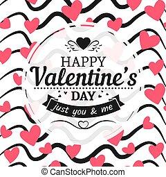 vendemmia, valentines, segno, fondo, cuori, disegnato, mano, scarabocchio, giorno, scheda
