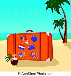 vendemmia, valigia, tropicale, disposto, bandiera, mare, pacifico, spiaggia, adesivi