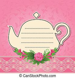 vendemmia, vaso, ceramica, tè