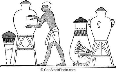 vendemmia, vaso, pulizia, engraving., egiziano