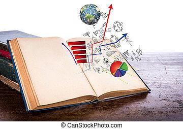 vendemmia, vecchio, affari, ammobiliato, legno, nasa), (elements, questo, libro, grafico, tavola, aperto, immagine