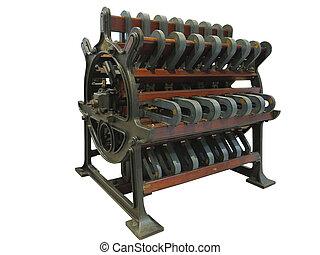 vendemmia, vecchio, apparecchiatura industriale, potente, motore elettrico, isolato, sopra, bianco