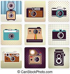 vendemmia, vecchio, set, macchina fotografica