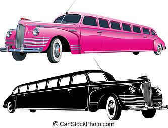 vendemmia, versione, limousine, lungo, monocromatico