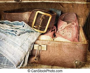 vendemmia, vestiti, valigia