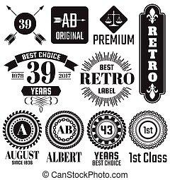vendemmia, vettore, bandiera, retro, logotipo