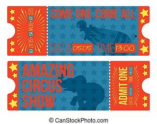 vendemmia, vettore, circo, illustration., tickets.