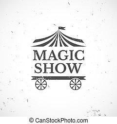 vendemmia, vettore, circo, illustrazione, distintivo