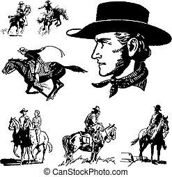vendemmia, vettore, cowboy, grafica