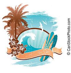 vendemmia, vettore, emblema, surfing